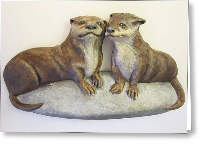 Animals Love Reliefs Greeting Cards - Otters-SOLD Greeting Card by Janet Knocke