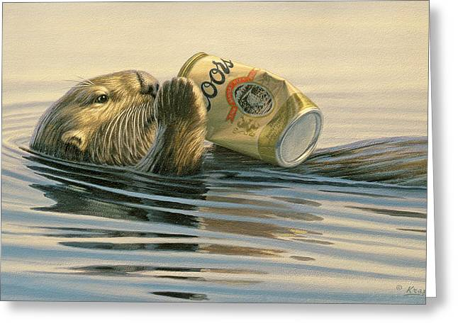 Wildlife Greeting Cards - Otters Toy Greeting Card by Paul Krapf
