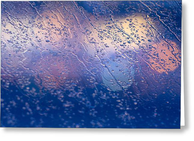 Rain Streaked Window Greeting Cards - Out-of-focus lights Greeting Card by David Taylor