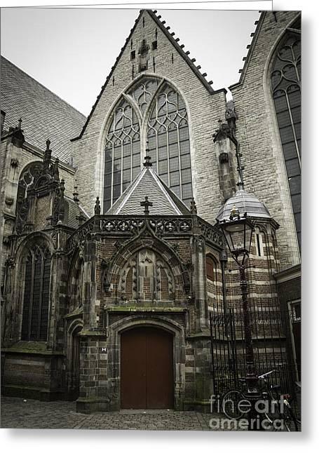 Weathervane Greeting Cards - Oude Kerk Door with Bikes Amsterdam Greeting Card by Teresa Mucha