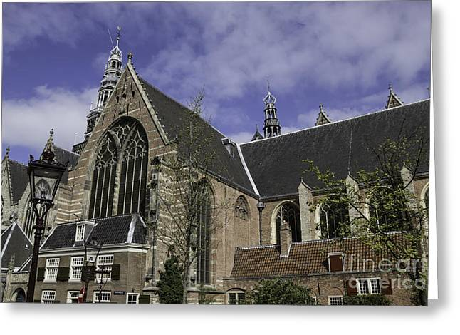 Weathervane Greeting Cards - Oude Kerk Old Church Amsterdam Greeting Card by Teresa Mucha