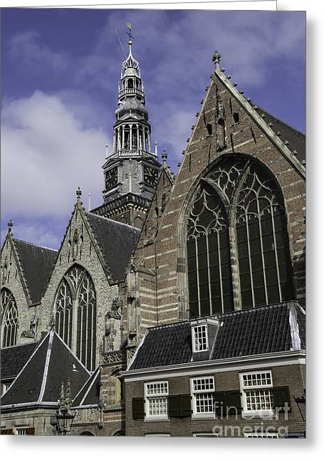 Weathervane Photographs Greeting Cards - Oude Kerk Rooflines and Tower Amsterdam Greeting Card by Teresa Mucha