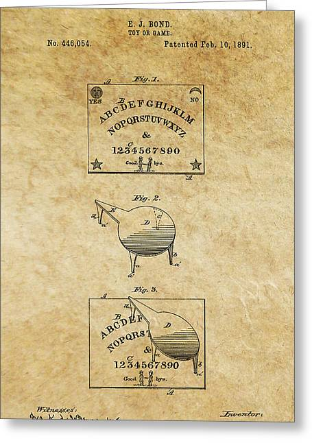 Seance Greeting Cards - Ouija Board Patent Art 1 -- 1891 Greeting Card by Daniel Hagerman