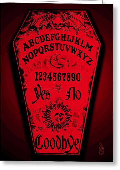 Steve Hartwell Greeting Cards - Ouija Coffin Greeting Card by Steve Hartwell
