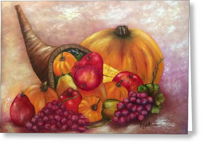 Cornucopia Paintings Greeting Cards - Our Abundance Greeting Card by Annamarie Sidella-Felts