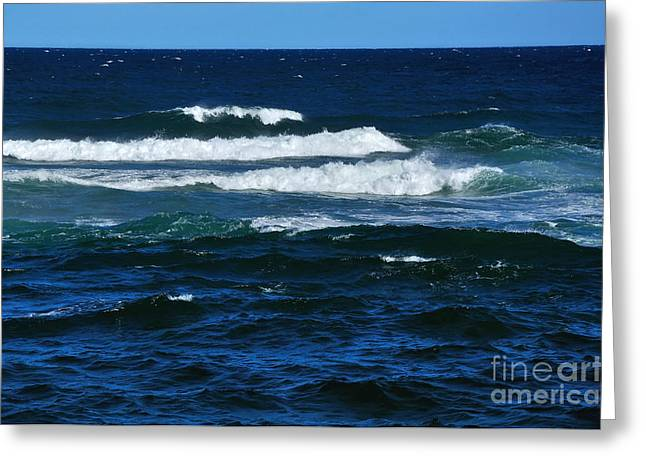 Blue Green Wave Greeting Cards - Our Beautiful Ocean 2 Greeting Card by Kaye Menner