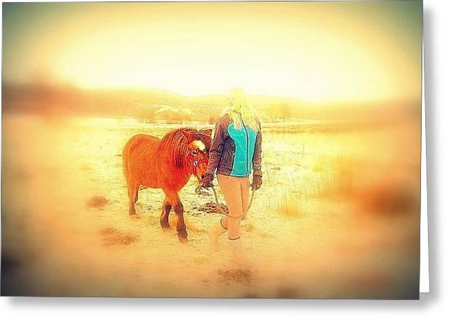 Your Childhood Pony Will Be Walking With You Forever  Greeting Card by Hilde Widerberg