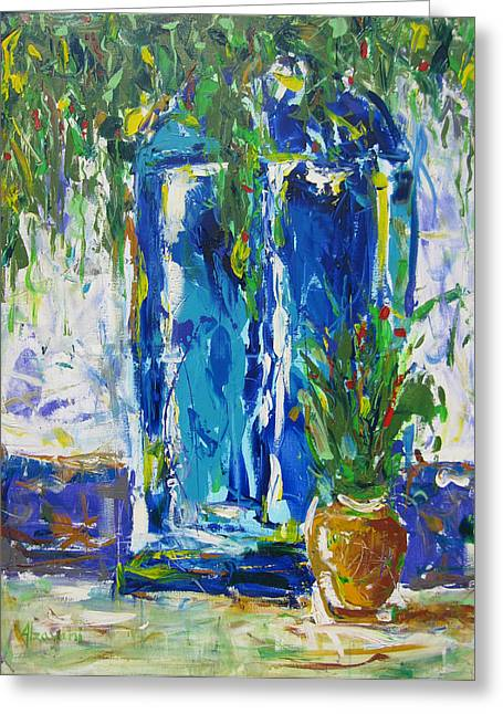 Pallet Knife Greeting Cards - Our Blue Door Greeting Card by Khalid Alzayani