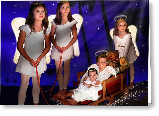 Silent Night Greeting Cards - Our Christmas Angels Greeting Card by Doug Kreuger