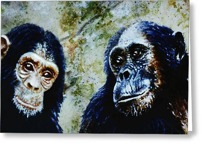 Chimpanzee Paintings Greeting Cards - Our Closest Relatives Greeting Card by Hartmut Jager