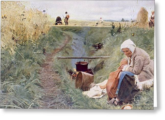 Landscape Drawings Greeting Cards - Our Daily Bread, 1886 Greeting Card by Anders Leonard Zorn