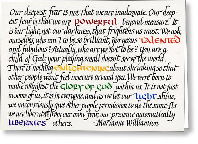 Calligraphy Greeting Cards - Our Deepest Fear Greeting Card by Sondra Venable