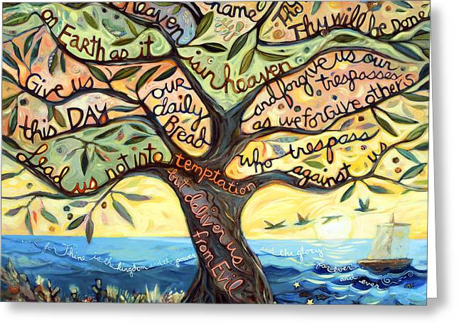 Tree Art Greeting Cards - Our Father Greeting Card by Jen Norton