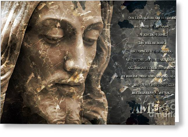 Bible Greeting Cards - Our Father Greeting Card by Jolanta Prunskaite