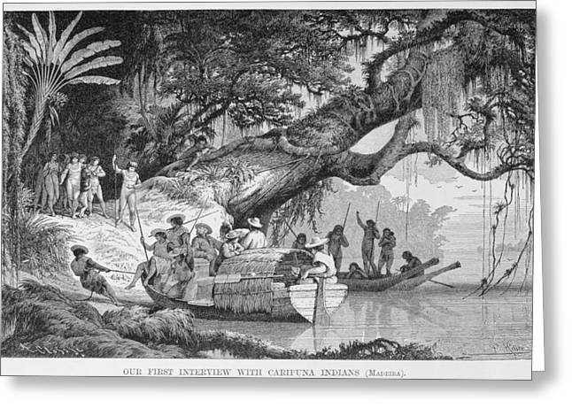 Canoe Photographs Greeting Cards - Our First Interview With Caripuna Indians, From The Amazon And Madeira Rivers, By Franz Keller Greeting Card by American School
