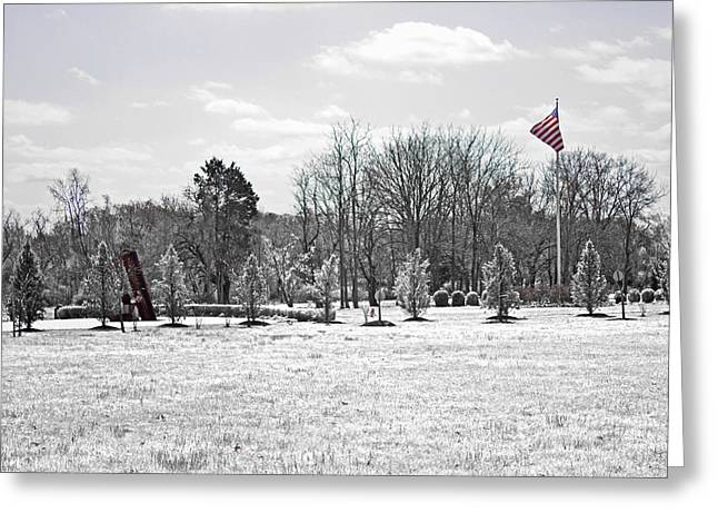 Remembering The Life Greeting Cards - Our Flag Was Still There Greeting Card by Tom Gari Gallery-Three-Photography