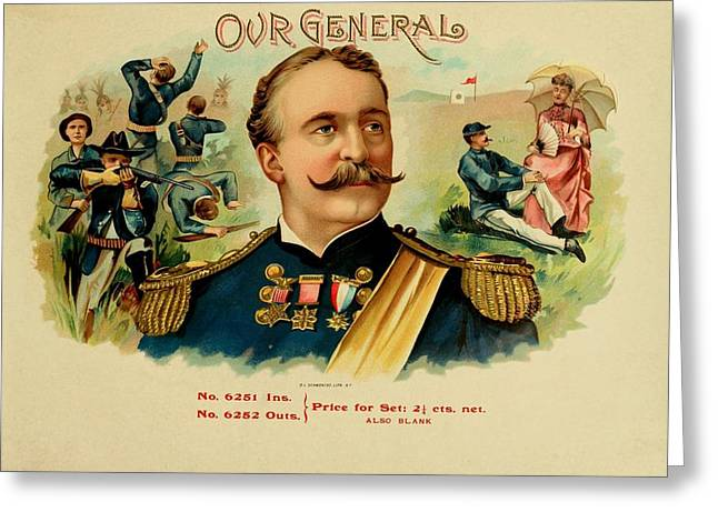 Cigar Drawings Greeting Cards - Our General Vintage Cigar Advertisement Greeting Card by Movie Poster Prints