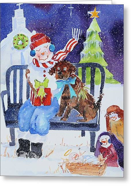 Christmas Art Greeting Cards - Our Gift to Him Greeting Card by Suzy Pal Powell