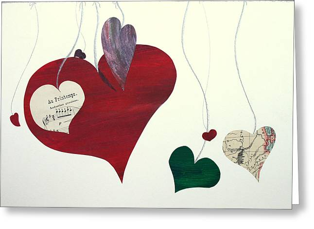 Confidence Mixed Media Greeting Cards - Our hearts beat for this world Greeting Card by Jolly Van der Velden
