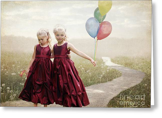 Lindaleesart Greeting Cards - Our hearts say were friends Greeting Card by Linda Lees