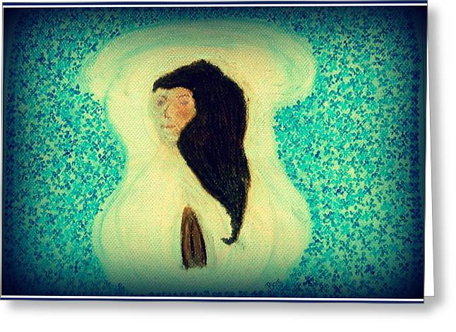 Jesus Pastels Greeting Cards - Our Lady In Pray Greeting Card by Lyn Blore Dufty