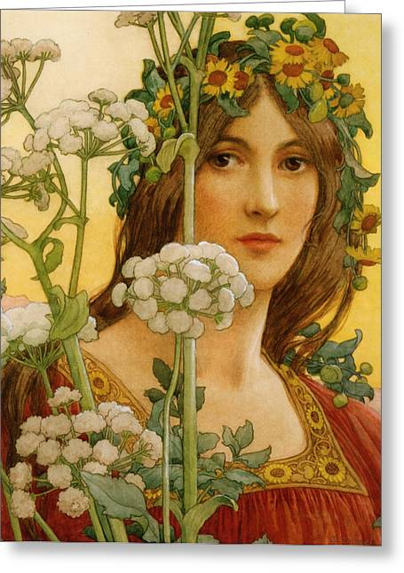 Red Dress Greeting Cards - Our Lady of Cow Parsley Greeting Card by Elisabeth Sonrel