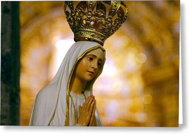 Our Lady of Fatima Greeting Card by Gaspar Avila