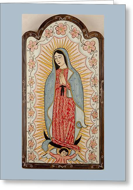 Retablos Greeting Cards - Our Lady of Guadalupe Greeting Card by Ellen Chavez de Leitner