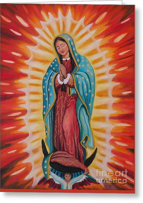 Our Lady Of Guadalupe Greeting Card by Lora Duguay