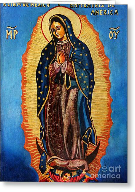 Nuestra Senora De Guadalupe Greeting Cards - Our Lady of Guadalupe  Greeting Card by Ryszard Sleczka
