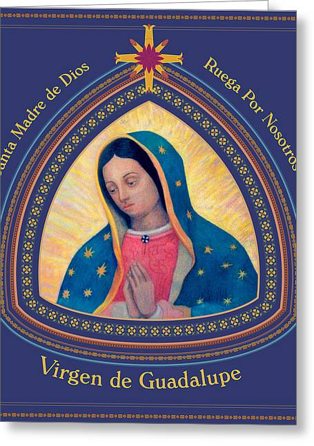 Eternal Life Mixed Media Greeting Cards - Our Lady of Guadalupe Spanish Language Greeting Card by Signo Vinces Design