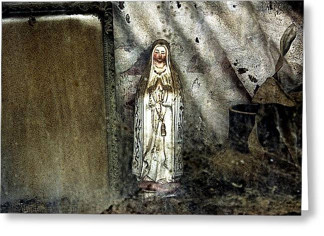 Our Souls Greeting Cards - Our Lady of Lourdes Alto de Sao Joao Cemetery Portugal Lisbon 2011  Greeting Card by John Hanou
