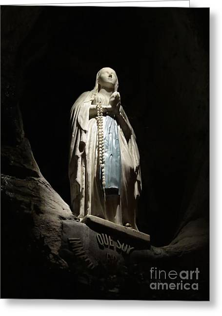 Rosary Greeting Cards - Our Lady of Lourdes Grotto at Night Greeting Card by Carol Groenen