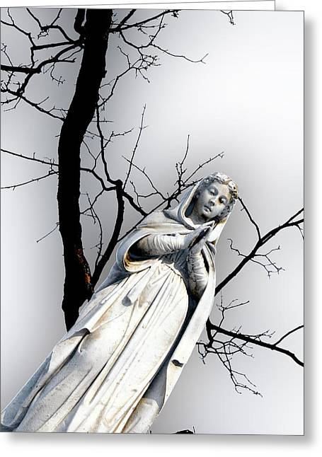 Our Souls Greeting Cards - Our Lady of Lourdes Statue Boston Massachusetts Greeting Card by John Hanou