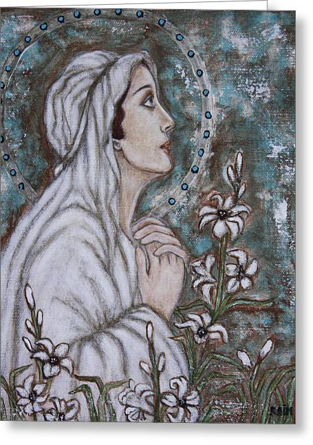 Virgen De Guadalupe Art Greeting Cards - Our Lady of Mental Peace Greeting Card by Rain Ririn
