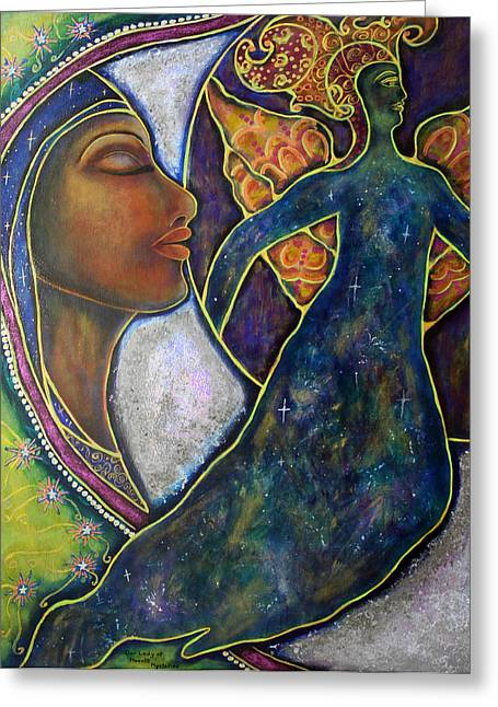 Visionary Artist Greeting Cards - Our Lady of Moonlit Mysteries Greeting Card by Marie Howell Gallery