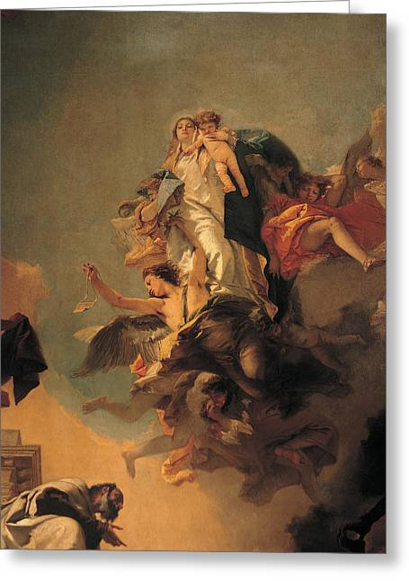 Knelt Paintings Greeting Cards - Our Lady of Mount Carmel  Greeting Card by Tiepolo Giambattista