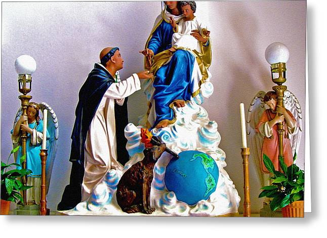 Rosary Greeting Cards - Our Lady of Peace Greeting Card by Karon Melillo DeVega