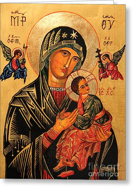 Recently Sold -  - Child Jesus Greeting Cards - Our Lady of Perpetual Help Icon II Greeting Card by Ryszard Sleczka