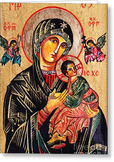 Succour Greeting Cards - Our Lady of Perpetual Help Icon Greeting Card by Ryszard Sleczka