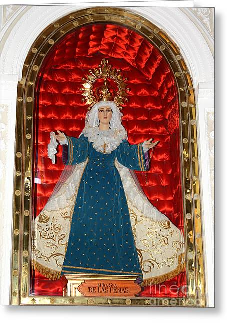 Lady Of Sorrow Greeting Cards - Our Lady of Sorrows Greeting Card by James Brunker