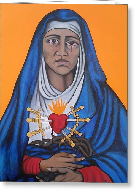 Lady Of Sorrow Greeting Cards - Our Lady of Sorrows Greeting Card by Jane Madrigal