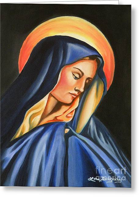 Lady Of Sorrow Greeting Cards - Our Lady of Sorrows Greeting Card by Lora Duguay