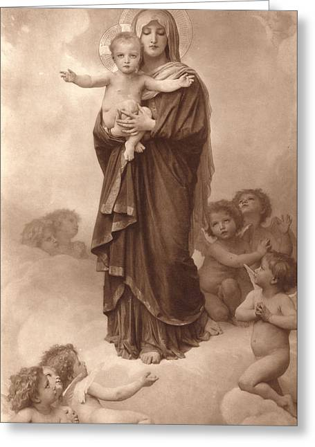 Vintage Images Greeting Cards - Our Lady of the Angels Greeting Card by William Bouguereau