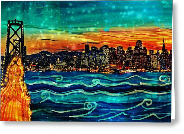 Bay Bridge Mixed Media Greeting Cards - Our Lady of the Bay Greeting Card by Michelle Dallocchio