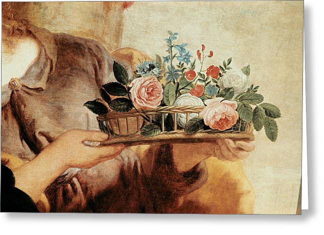 Notre Dame Greeting Cards - Our Lady Of The Rosary, Detail Of The Basket Of Flowers Oil On Canvas Greeting Card by Gaspar de Crayer