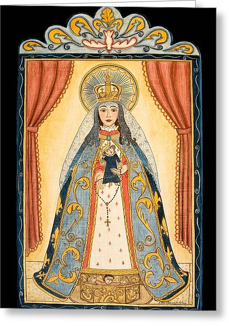 Retablos Greeting Cards - Our Lady of the Rosary Greeting Card by Ellen Chavez de Leitner