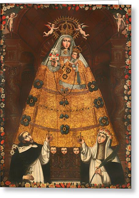 Religious work Paintings Greeting Cards - Our Lady of the Rosary with St Dominick and St Rose Greeting Card by Cusco School