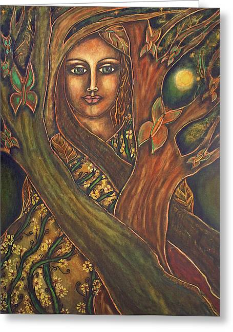 Visionary Artist Paintings Greeting Cards - Our Lady of the Shimmering Wildwood Greeting Card by Marie Howell Gallery