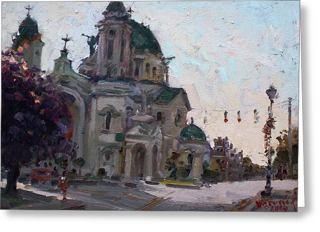Church Street Greeting Cards - Our Lady of Victory Basilica Greeting Card by Ylli Haruni